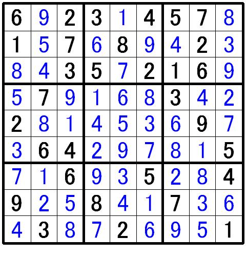 ナンプレ中級問題の解答4