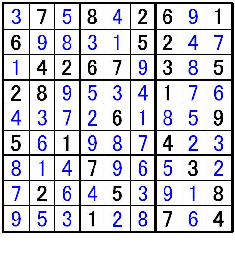 ナンプレ中級問題の解答9