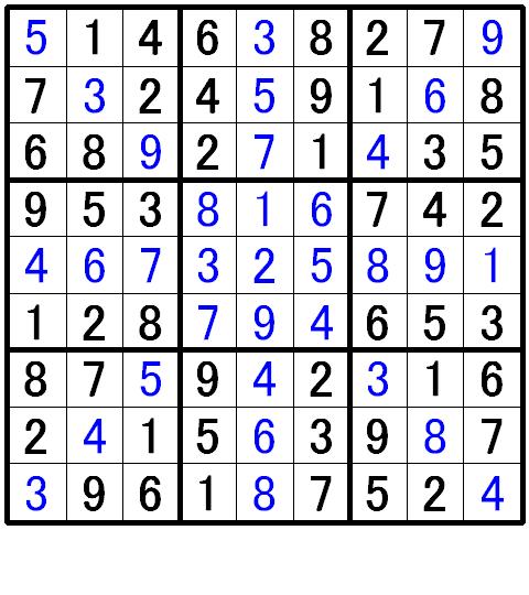 ナンプレ初級問題1の解答