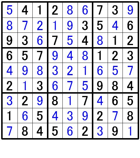 ナンプレ初級問題3の解答