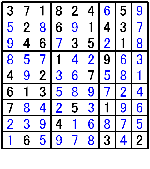 ナンプレ初級問題8の解答