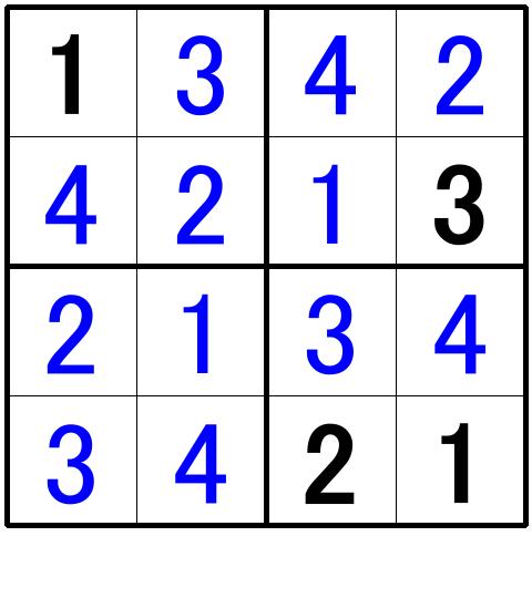 ナンプレ超初級問題10の解答