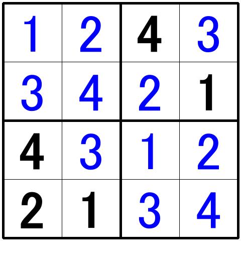 ナンプレ超初級問題1の解答