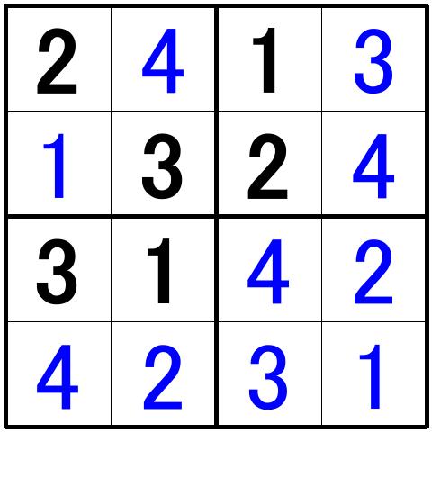 ナンプレ超初級問題2の解答