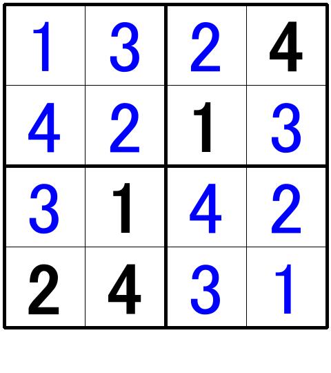 ナンプレ超初級問題3の解答