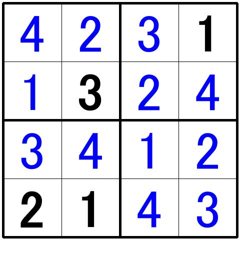 ナンプレ超初級問題4の解答